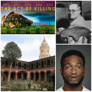 A collage including a photo of Adorno, a photo of a Black man with AI details over his face, a photo of a building in an Ibero-American city, and the movie poster for the documentary